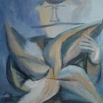 """13. Евгений Расторгуев """"Человек с крылом"""" 1979 Холст, масло 49х34"""