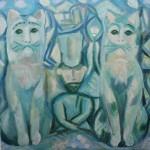 """17. Евгений Расторгуев """"Продажа зеленых кошек"""" 1980 Холст, масло 64х66"""