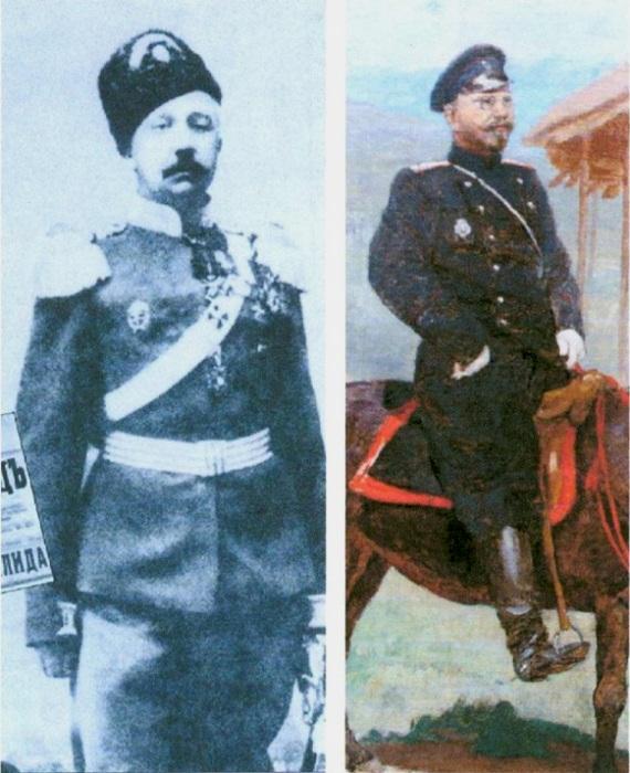 Подъесаул лейб-гвардии Атаманского полка П.Н.Краснов и фрагмент картины В.В.Полякова