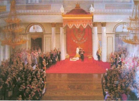 В.В.Поляков «Тронная речь императора Николая II на приеме членов Государственной Думы в Зимнем дворце по случаю открытия Первой Государственной Думы»