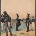 """Павел Федотов """"Брань под Красным (селом). Сцена из лагерной жизни"""" 1840"""