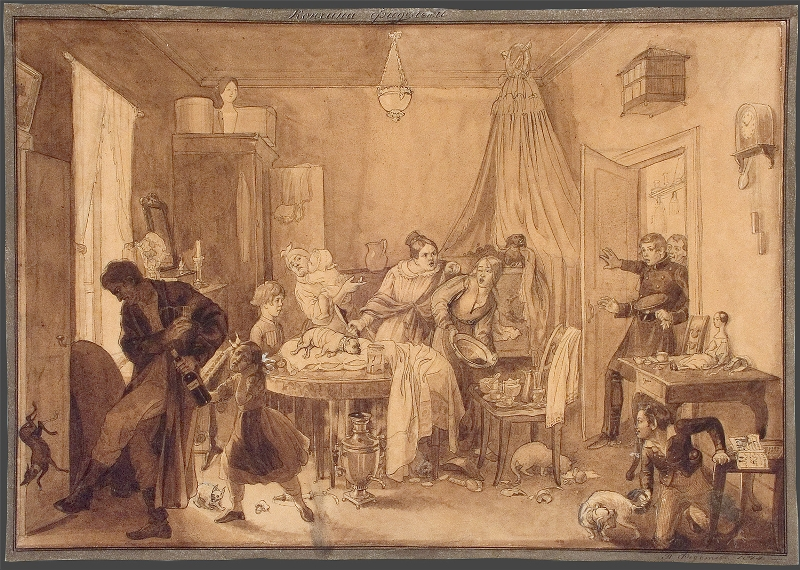"""Павел Федотов """"Кончина Фидельки"""" 1844"""