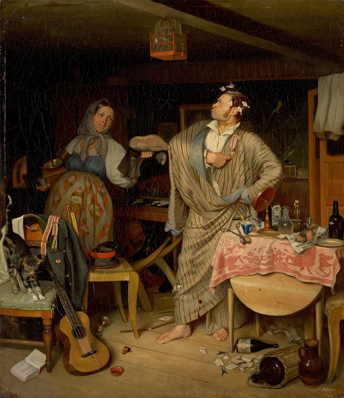 """Павел Федотов """"Свежий кавалер. Утро чиновника, получившего первый крестик"""" 1846"""
