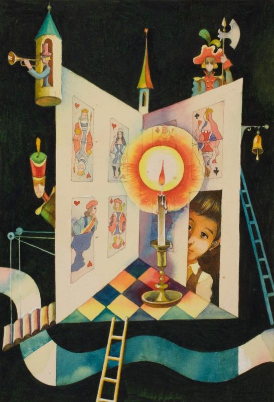 """Виктор Пивоваров """"Карточный домик. Иллюстрация к книге Г.Х.Андерсена """"Сказки и истории"""" 1980"""