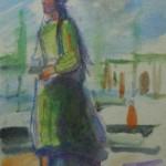 "Александр Лабас ""Узбечка под зонтиком. Из серии ""Ташкент"" 1942"