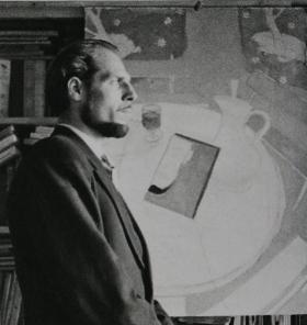Алексей Аникеенок на фоне своей картины, 1964