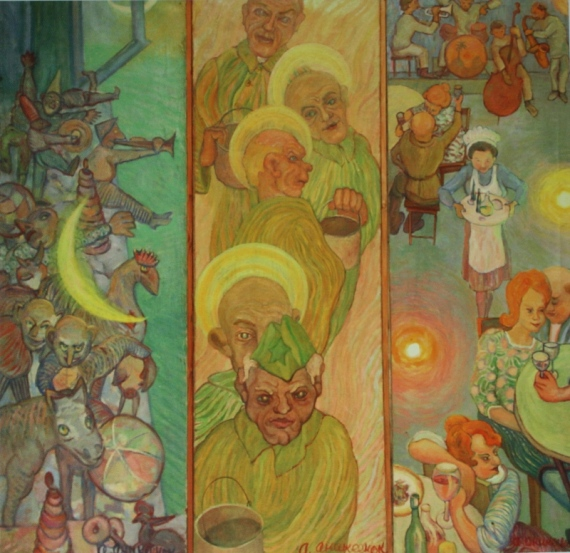 Алексей Аникеенок «Кабацкая серия. Триптих. Жизнь игрушек. Зеки. Голубой кабак», 1964-1978