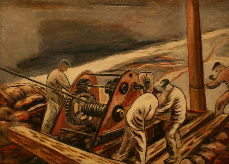 """Борис Голополосов """"Рабочие у лебёдки. Днепрострой"""" 1930"""