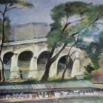 """101. Кузнецов Павел """"Мост через Сену"""" 1923 Картон, масло 43,5х48,5 Из собрания О.М.Дурылиной"""