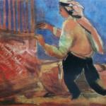 """134. Кузнецов Павел """"Тканье ковров"""" 1930-1931 Холст, масло 65,5х80 Из собрания семьи художника"""