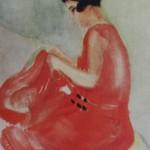 """135. Кузнецов Павел """"Е.М.Бебутова в красном платье"""" 1931 Бумага, акварель 35,2х24,3 Из собрания О.М.Дурылиной"""