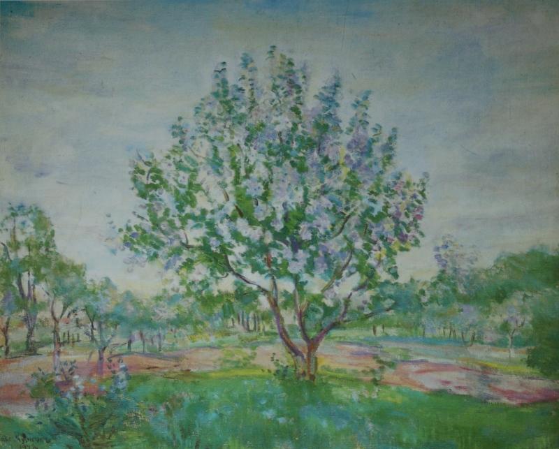 """152. Кузнецов Павел """"Цветущая яблоня (В Мичуринском саду)"""" 1942 Холст, масло 69,5х89,5 Химкинская картинная галерея"""