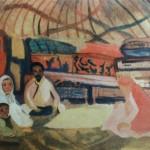 """19. Кузнецов Павел """"Семья в кошаре"""" 1910 Картон, темпера 45х51 Собрание В.Дудакова и М.Кашуро"""
