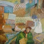 """53. Кузнецов Павел """"За рукоделием"""" 1913 Клеевая краска, холст 85х77 Астраханская государственная картинная галерея"""