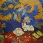 """59. Кузнецов Павел """"Натюрморт с портсигаром"""" 1913 Холст, масло 62х71 Художественный музей, Вильнюс, Литва"""