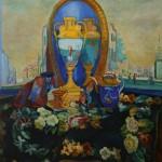 """62. Кузнецов Павел """"Натюрморт с зеркалом"""" 1917 Холст, масло 117х110 Государственная Третьяковская галерея"""