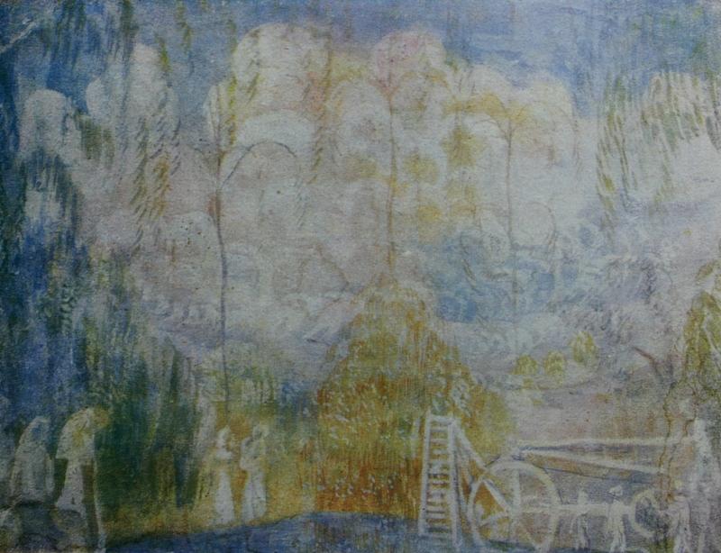 """7. Кузнецов Павел """"В саду. Весна"""" 1904-1905 Темпера, холст 38,5х43,5 Из собрания Д.В.Сарабьянова"""
