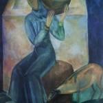 """77. Кузнецов Павел """"У водоёма (Девушка с кувшином)"""" 1920 Холст, масло 105х86 Из собрания Б.А. и Э.И.Денисовых"""