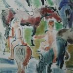"""10. Тимошенко Лидия """"Купание коней"""" 1930 Бумага, акварель 69х50"""