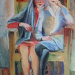 """12. Тимошенко Лидия """"Две девочки в кресле"""" 1931 Бумага, гуашь 63х43"""