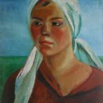 "13. Тимошенко Лидия ""Голова девушки"" 1932 Холст, масло 71х63"