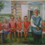 """14. Тимошенко Лидия """"Выводок. Второй вариант"""" 1934 Бумага, гуашь 60х77"""