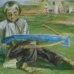 """15. Тимошенко Лидия """"Мальчик с самострелом"""" 1932 Бумага, гуашь 50х68"""
