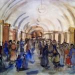 """Александр Лабас """"Москва. Ждут поезда"""" 1940"""