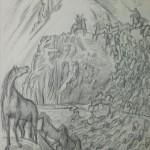 """Владимир Фаворский """"Алмамбет и Сыргак гонят коней через Сары-Суу"""""""