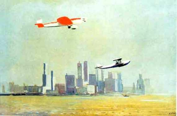 Александр Дейнека «Самолеты над Нью-Йорком» 1935