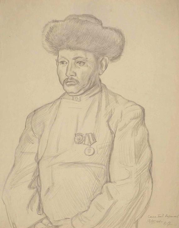 "Владимир Фаворский ""Манасчи Саякбай Каралаев"" Бумага, карандаш. 53,3х42,5"