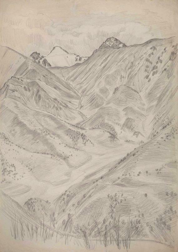 """Владимир Фаворский """"Горный пейзаж. Ущелье"""" Бумага, карандаш. 62х43,6"""