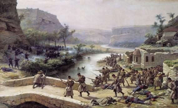 Павел КовалевскИЙ «Сражение при реке Лом 12 октября 1877 года (Дело у деревни Иван-Чифлик)» 1887