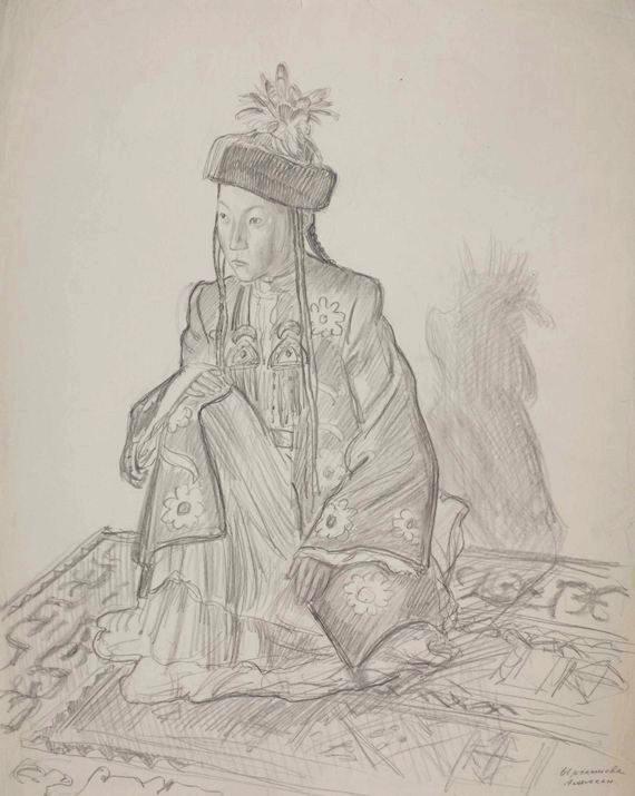 "Владимир Фаворский ""Ырсалиева Аламкан (артистка)"" Бумага, карандаш. 52х41,5"