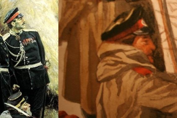 """Сопоставление фрагментов акварели """"Привал"""" и картин В.В.Верещагина"""