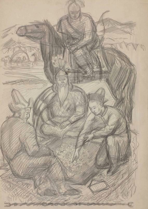 """Владимир Фаворский """"Кошой, Бакай и Сыргак играют в альчики"""" Бумага, карандаш. 41,8х29,5"""