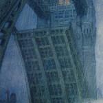 """18. Добужинский Мстислав """"Мост в Лондоне"""" 1908 Картон, пастель, темпера 80х57 Государственный Русский музей"""