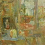"""18. Лукашевкер Александра """"Абельмановская застава. Натюрморт с зеркалом"""" 1970-е Оргалит, масло 49,7х81,5"""