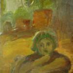 """20. Лукашевкер Александра """"Абельмановская застава. Люба. Этюд"""" 1961-1962 Холст, масло 50х42"""