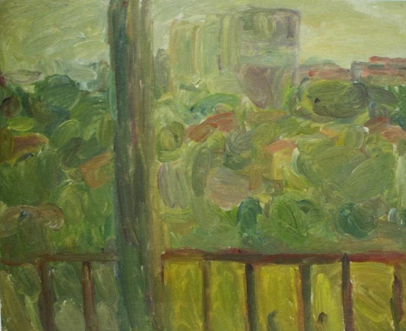"""4. Лукашевкер Александра """"Абельмановская застава. Пейзаж с балконом"""" 1974 Холст, масло 47,5х57,5"""
