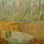 """40. Лукашевкер Александра """"Лианозово. Белый стол на террасе"""" 1975 Холст, масло 45х60"""