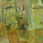 """41. Лукашевкер Александра """"Лианозово. Интерьер с букетом"""" 1970-е Картон, масло 49,5х80"""