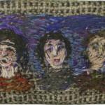 """56. Лукашевкер Александра """"Портреты друзей"""" Середина 1980-х Бортовка, цветное мулине, металлическая рамка 4,2х7,5"""
