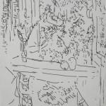 """69. Лукашевкер Александра """"Яблоки на окне"""" Конец 1980-х Бумага, перьевая ручка 19х13"""