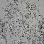 """70. Лукашевкер Александра """"Ваза на фоне сада"""" Конец 1980-х Бумага, перьевая ручка 19х13"""