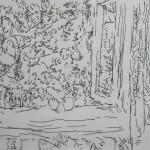 "71. Лукашевкер Александра ""Окно в сад"" Конец 1980-х Бумага, перьевая ручка 13х19"
