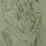"""73. Лукашевкер Александра """"Без названия"""" 1980-е Цветная бумага, перьевая ручка 22,8х15,2"""