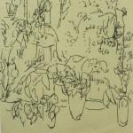 "75. Лукашевкер Александра ""Листья и цветы"" Конец 1980-х Цветная бумага, перьевая ручка 13х11"
