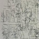 """76. Лукашевкер Александра """"Букет в белой вазе"""" Конец 1980-х Бумага, перьевая ручка 18,7х12,3"""