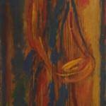 """77. Лукашевкер Александра """"Девушка с блюдом"""" Начало 1970-х Дерево, темпера 61,6х21,5"""
